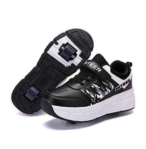 Homesave Kinder Schuhe mit Rollen Jungen Skateboardschuhe Mädchen Skateboard Schuhe LED Roller Skate Schuhe Sneakers Laufschuhe Sportschuhe mit Rollen für Mädchen Jungen,BlackDouble,38EU Mädchen-skate-schuhe