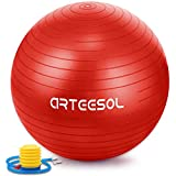 Arteesol Gymnastikball, 65 cm/75 cm, Anti-Burst, Rutschfest, Yoga, Swiss Ball, Geburtsball, Schnelle Pumpe, Fitness, Yoga, Pilates, Core Training, Physiotherapie, rot, 75 cm