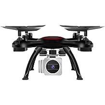 quadcopter drone camara wifi 0.3 MP HD, Sannysis drones con camara en tiempo real Video 2 modos de control y pantalla profesional baratos y Control Remoto 2.4G 4CH 6-Axis FPV RC color negro
