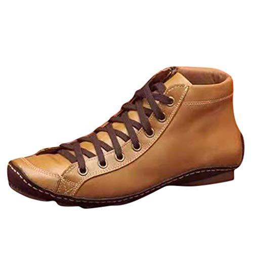 Smonke Damen Freizeit Flache Leder Retro Schnürstiefel Seitlicher Reißverschluss Runde Kappe Schuh Stiefel Mode Reißverschluss Outdoor Winter Warme Schuhe