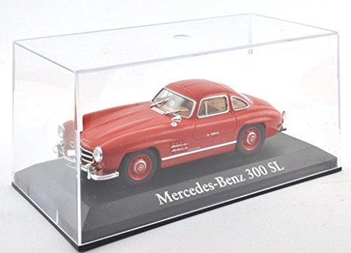 DieCast Metall Miniaturmodelle Modellauto 1:43 Oldtimer Klassiker Mercedes Benz 300 SL Modell rot Altaya IXO inklusive Kunststoff Vitrine