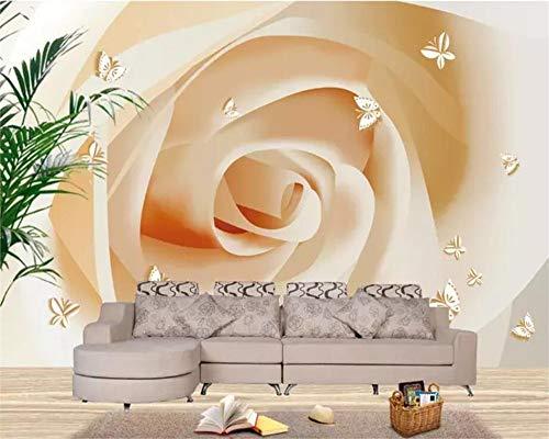 Apoart 3D Wandtapete Papel De Parede Wandbild Stereo Rose Schmetterling LiebeBlumeTv Hintergrund Wand Wohnzimmer Tapete450Cmx300Cm 6280 Stereo