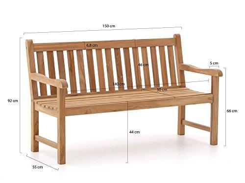 Stabile Gartenbank Sunyard Wales aus massivem, unbehandeltem Holz, Teakholz 3 Sitzer 150 cm - 2