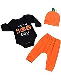 Niño niña disfraces de Halloween Bebé recién nacido traje de calabaza Mameluco de manga larga y pantalón y sombrero 3 piezas Conjunto de ropa