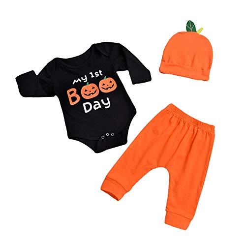 Baywell Baby Jungen Mädchen Strampler Set, Kinder Baby Halloween Kostüm Langarm Body + Hosen + Hut 3 STÜCKE Sets (XS/0-3Monat/70, A)