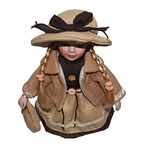 F Fityle Mini Viktorianische Mädchen Porzellan Puppen Dekofigur mit Ausstellungsständer - D - 16 Zoll