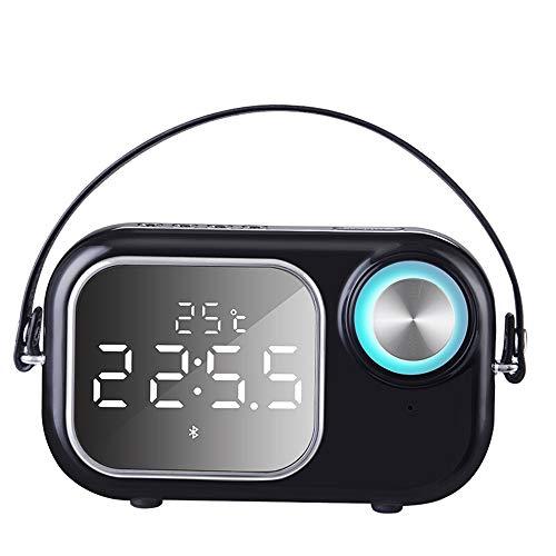 Byx- Bluetooth-Lautsprecher - Home Wecker Spiegel Mobiler Computer Tragbarer Super-Subwoofer Kanone Subwoofer Outdoor-Kartenradio [Echtzeit-Temperaturanzeige + Spiegel-Doppelalarm Bluetooth-Lautsprech