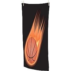 """Snoogg Baloncesto Fuego toalla de playa Super suave y absorbente microfibra 30x 58""""baño, gimnasio toalla de viaje"""