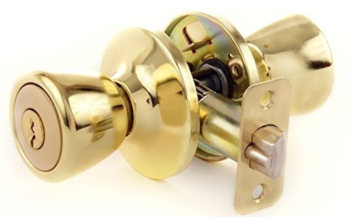 Lion Locks LIO0107 Tulip Keyed Entry Door Knob, Polished Brass, Gold by Lion Locks