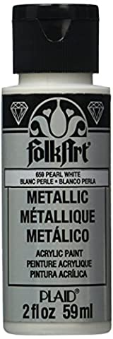 FolkArt Metallic Acrylic Paint in Assorted Colors (2 Ounce), K659 Pearl White
