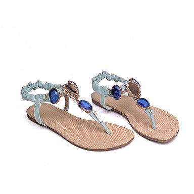 LvYuan Damen-Sandalen-Kleid Lässig-Kunstleder-Flacher Absatz-Komfort Club-Schuhe-Blau Rosa Beige Pink