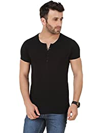 6f958a69 GESPO Men's Black Solids Regular Fit Cotton Henleys Neck Short Sleeves T  Shirt
