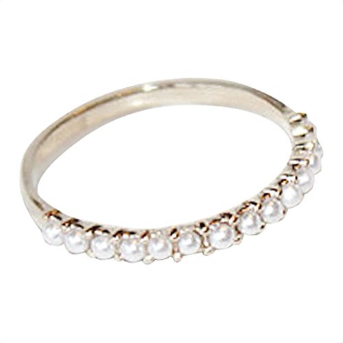 Gieschen Jewelers -ALEXA- 14K Rose Gold-Plated Simulated Pearl Pave Ring, Size H (Platinum Pearl Ring)