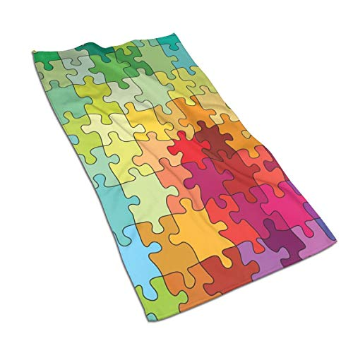 JOJOLASQ Kitchen Dish Towels Wash Cloth Car Household Pet Bath Towel,Colorful Puzzle Pieces Fractal Children Hobby Activity Leisure Toys Cartoon Image,27.5 Inch X15.7 Inch
