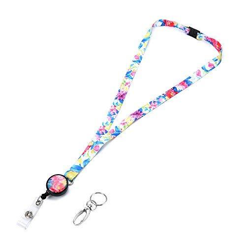 grekywin Aquarellzeichnung Stil Lanyard mit Retractable Badge Reel ID-Karte Name Tag Badge Holder Key-Holder mit abnehmbarer Schnalle für Frauen