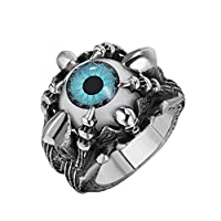 Stanley Steel Ring Large blue eye with claw and skull Size US 11