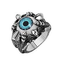 خاتم ستانلي ستيل عين زرقاء كبيرة مع مخلب وجمجمة مقاس أمريكي 11