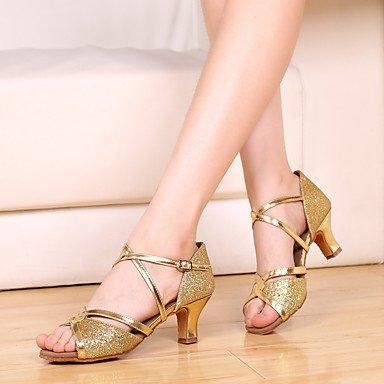 XIAMUO Nicht anpassbar - Die Frauen tanzen Schuhe Leder Leder Latin/Salsa Heels Stiletto Heel Praxis Schwarz/Gold/Leopard Haut