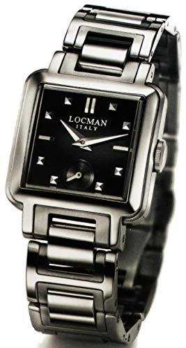 Locman Cadre/Montre Femme/Cadran Noir/Caisse et Bracelet Acier/Ref. 021000bknnk4br0