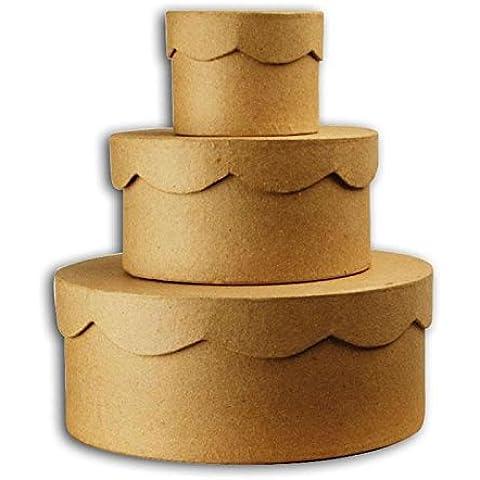 Set 3 Scatole cartone bordo smerlettato Avana - Decorabilia KC72 - Scatola Di Cartone Crafts