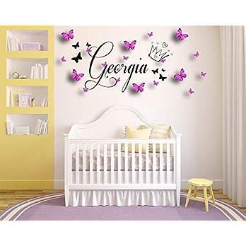Personalisierter Name, Krone, Tiara. Vinyl Wandkunst Aufkleber, Wandbild, Aufkleber, mit Rosa/Blau 3D Schmetterlinge Home, Wand-Dekor. Kinderzimmer, Kindergarten, Spielzimmer