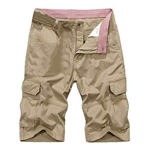 GreatestPAK Herren Sommer Cargoshorts Outdoor Multi-Pockets Outdoor-Hosen Volltonfarbe Sportshorts Übergrößen,Khaki,EU:XXXL(Tag:44) -