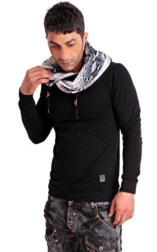 24brands Herren Longsleeve Sweater Langarm Sweatshirt Langarmshirt Pullover mit Snake Print Kragen - 2815 Schwarz