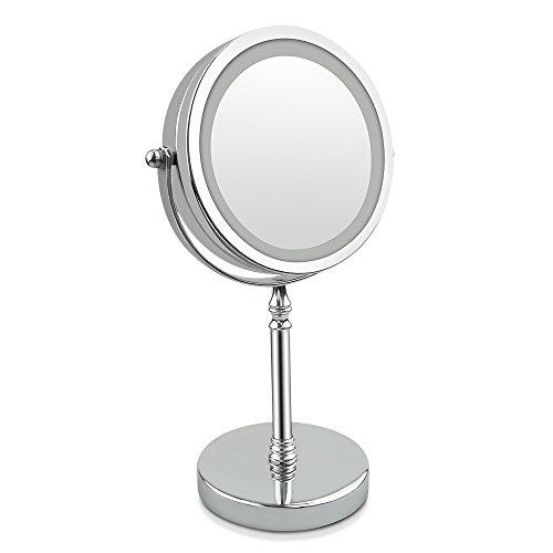 VergrößerungsSpiegel, Tabletop Spiegel 10x 7-inch LED MakeUp Spiegel- Doppelseitig, beleuchtet 1x oder 10x Vergrößerung (10x)
