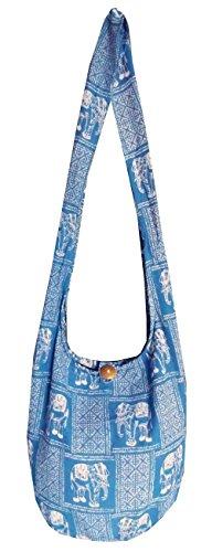 Hippie borse borsa da donna, Elefante yam Hobo Boho Hippy Motivo fatta a mano croce corpo Festival Borsa da spiaggia in cotone Blue