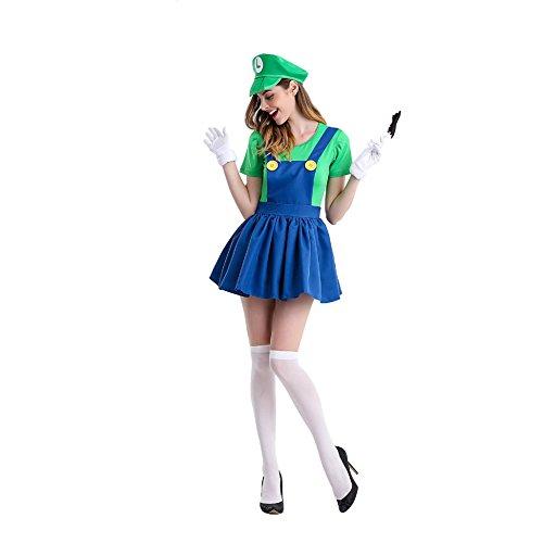 Damen Mario Rock Overalls Super Klempner Bros Cosplay Kostüm Halloween Verrücktes Kleid Kleidung mit Hut Bart Handschuhe (Mario Und Peach Cosplay)