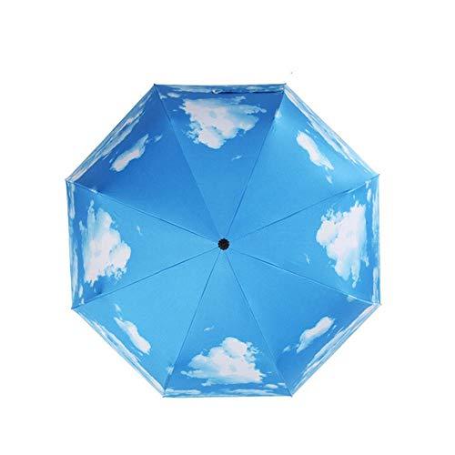 lili Lemon Sky Painting Klappbleistift Regenschirm Für Frauen Regenschirm Karton Lady Sun Rain Gear Sonnenschirm Ultradünne Lichtblätter Regenschirm, Weiß