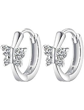 Summens Damen Ohrringe Creolen Schmetterling aus 925 Sterling Silber Zirkonia für Jeden Anlass