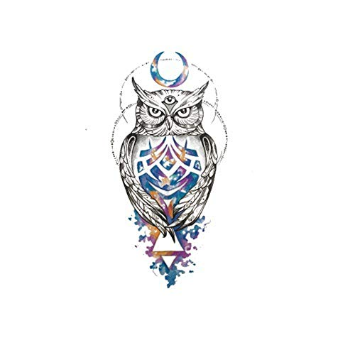adgkitb Owl Waterproof Tattoo Sticker 3D Animal Sticker Moda Personalidad Brazo de la Flor 38 14.8x21cm