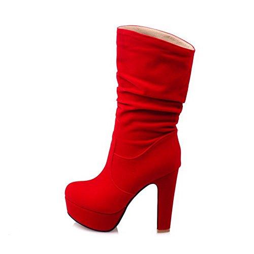 Alguns Baixo Alto Salto Senhoras Allhqfashion Toe top Botas Vermelhas De Puxar ZqfTwE0
