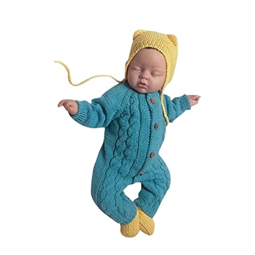 Kinderbekleidung,Honestyi junge Kinder warm Coat Baumwolle Kids winddicht abnehmbare Cap Jacken strampler unisex Neugeborene Baby Kleidung Baby Langarm gestrickte Kleidung Crawling (Blau, 24M/90CM)