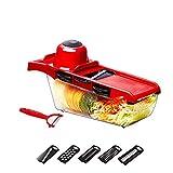 Küchen-Gemüseschneider-Zerhacker 6 austauschbare Klingen & Rutschfeste Saugbasis-Schneidemaschine, Vorratsbehälter für Lebensmittel - Cutter für Kartoffeln, Tomaten, Zwiebeln, Käse, Gurken etc