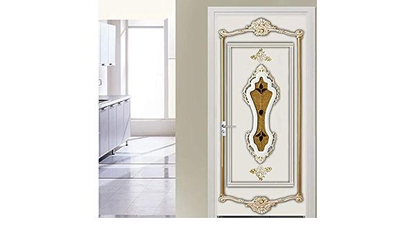WELQUN PVC T/üraufkleber 3D Stereo Golden Gips Muster Tapete Wohnzimmer Hotel Hintergrund Wanddekor 3D Home Poster