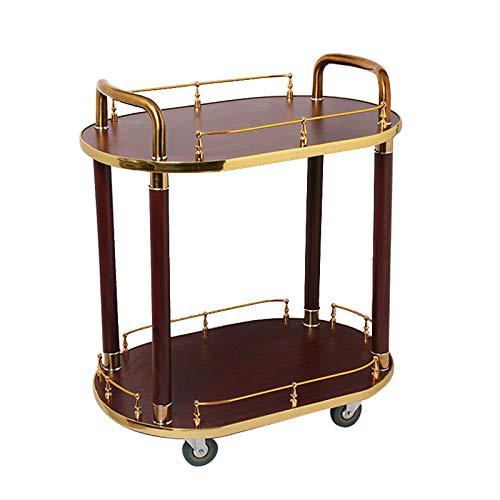 2 Tier Holz aus Holz Servierwagen Küchentrolley Küchenrollwagen Cart Küche Lagerung Insel Cart 360 ° Rollen Restaurant Storage Finishing Regale LxBxH: 700x460x830mm (Insel Lagerung)