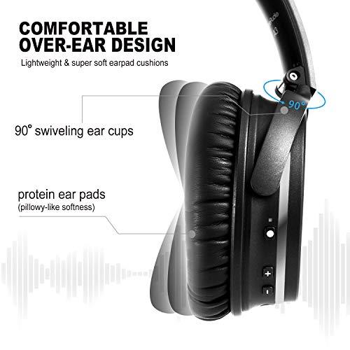 OneAudio Active Noise Cancelling Kopfhörer ANC Bluetooth Over Ear Headset mit aktiver Rauschunterdrückung 18 Stunden Spielzeit, integriertem Mikrofon, Schwarz - 3