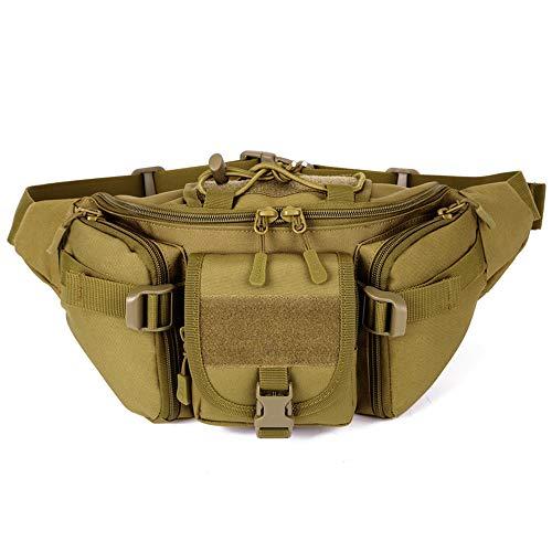 BondFree Tactical Nylon Taktische Hüfttasche Freizeittasche Molle Bauchtasche mit zu vielen Schnallen Militär Gürteltasche Reißverschluss für Freizeit Outdoor Sport Trekking Wandern Running (Braun)