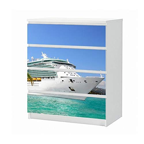 Set Möbelaufkleber für Ikea Kommode MALM 4 Fächer/Schubladen Kreuzfahrt Schiff Urlaub Yacht Meer Palme Aufkleber Möbelfolie sticker (Ohne Möbel) Folie 25B757