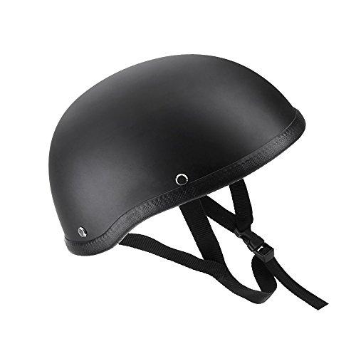 KKmoon Moto Mezza Casco aperto Nero Opaco Protezione Conchiglia Casco per Scooter B