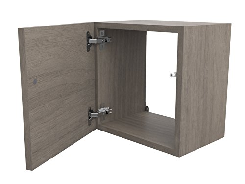 Ve.ca-italy cubi in legno 35x35 cm con sportello e ripiano in vetro, in 7 colorazioni, pareti attrezzate, arredo design 100% made in italy (35x35 cm senza ripiano in vetro, rovere grigio)