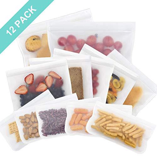 OFUN Wiederverwendbare Aufbewahrungstasche für Lebensmittel 12pcs, biologisch abbaubare Sandwich Snack Taschen aus PEVA, Lebensmittelbeutel Gefrierbeutel BPA frei für Obst Gemüse Fleisch und Brot