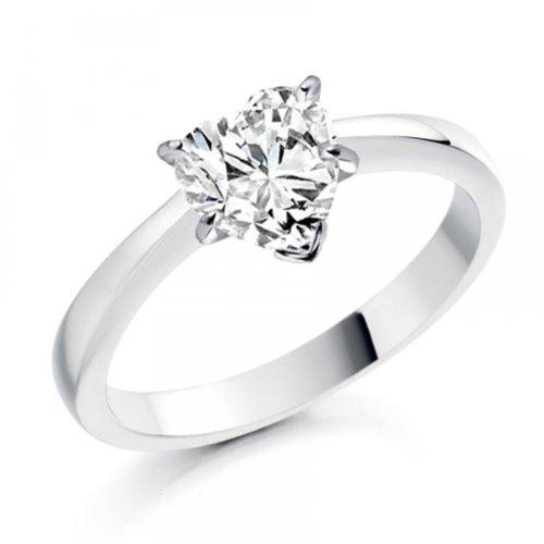 Diamond Manufacturers, Damen, Verlobungsring mit 0.41 Karat F/VS1 feinem und zertifiziertem Herzdiamant in Platin - 3
