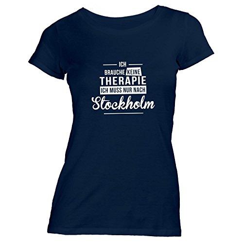 Monkiez Damen T-Shirt - Ich Brauche Keine Therapie Stockholm - Therapy Urlaub Schweden, Navy, S
