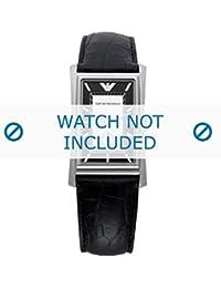 Armani correa de reloj AR-0158 Piel de cocodrilo Negro 23mm(Sólo reloj correa - RELOJ NO INCLUIDO!)