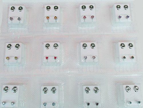 24 Ohrstecker (12 Paar) Stahl mit 12 Farben, - Ohrringe Sterile