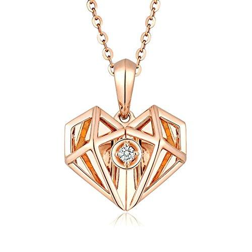 SonMo Echt 18K Rosegold Halskette für Damen Doppel Herz 2.02ct Diamant Kette mit Anhänger Echte Gold Halskette Frauen 750 Gold Schmuck Geschenk für Frauen Mädchen