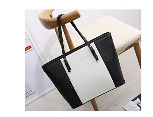 Fyyzg Herbst und Winter Modelle Damen Handtaschen große Kapazität PU-Handtaschen Außenhandel Großhandel einfach - weiß mit schwarz